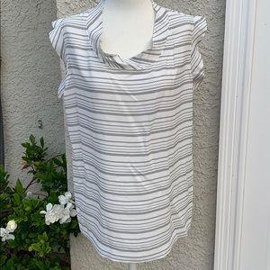 CAbi Gray & White Madeline Stripe Top Size S NWT